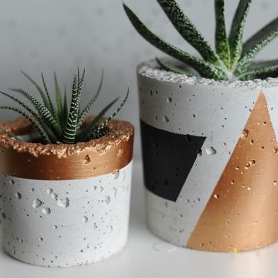 Бетонная геометрическая ваза